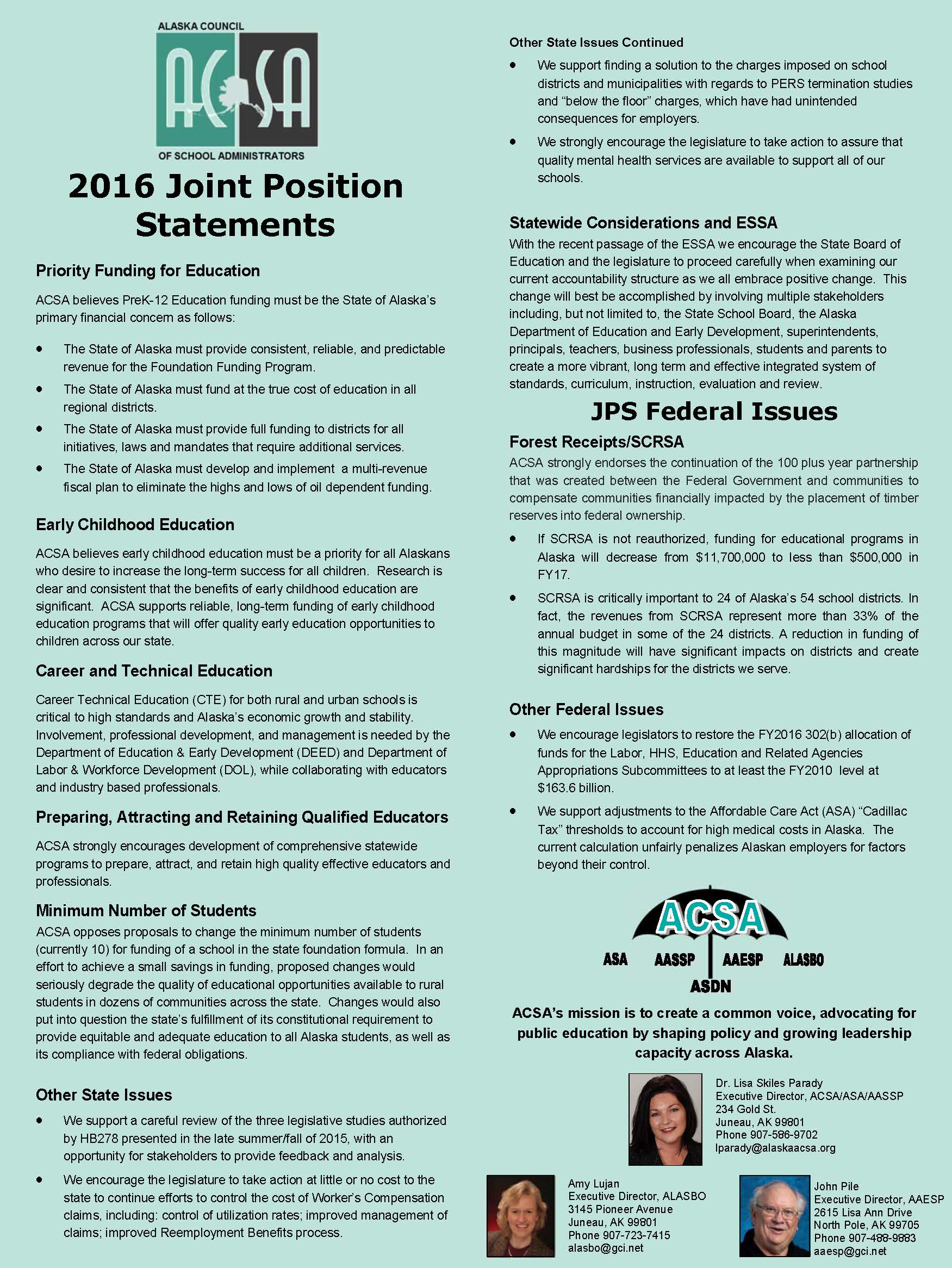 2016 Joint Position Statements